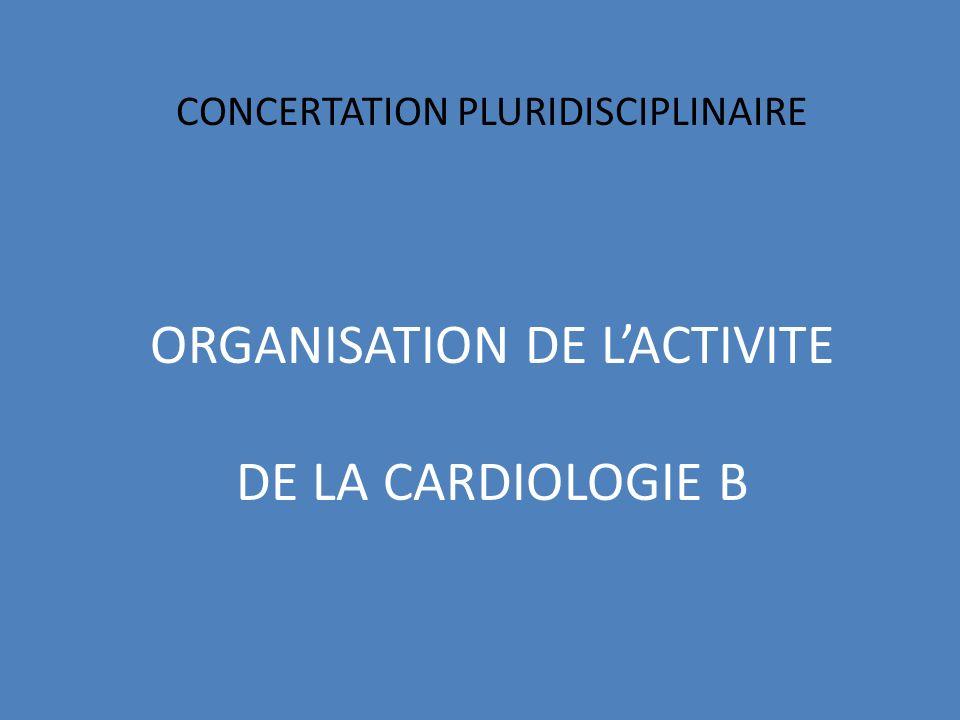 CONCERTATION PLURIDISCIPLINAIRE ORGANISATION DE L'ACTIVITE DE LA CARDIOLOGIE B