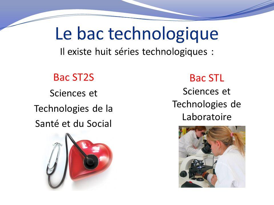 Le bac technologique Il existe huit séries technologiques :