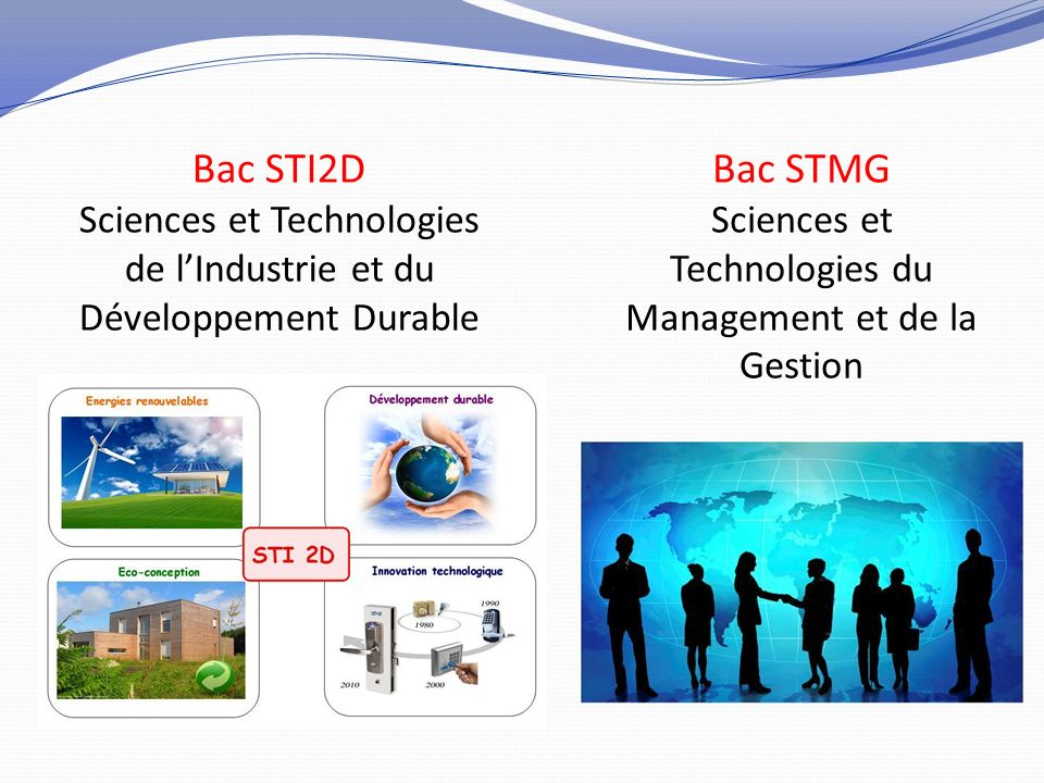 Bac STI2D Bac STMG Sciences et Technologies de l'Industrie et du
