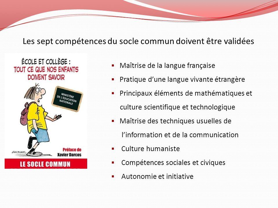 Les sept compétences du socle commun doivent être validées