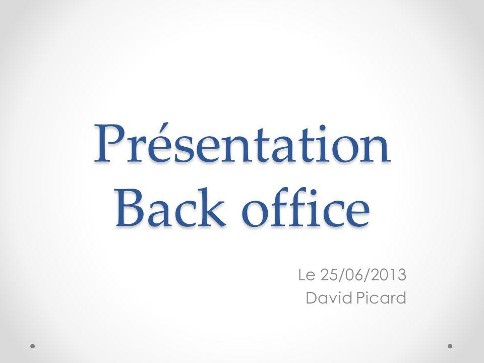 Présentation Back office