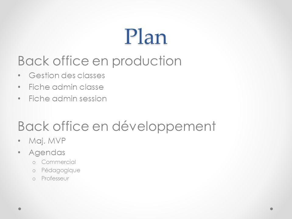Plan Back office en production Back office en développement