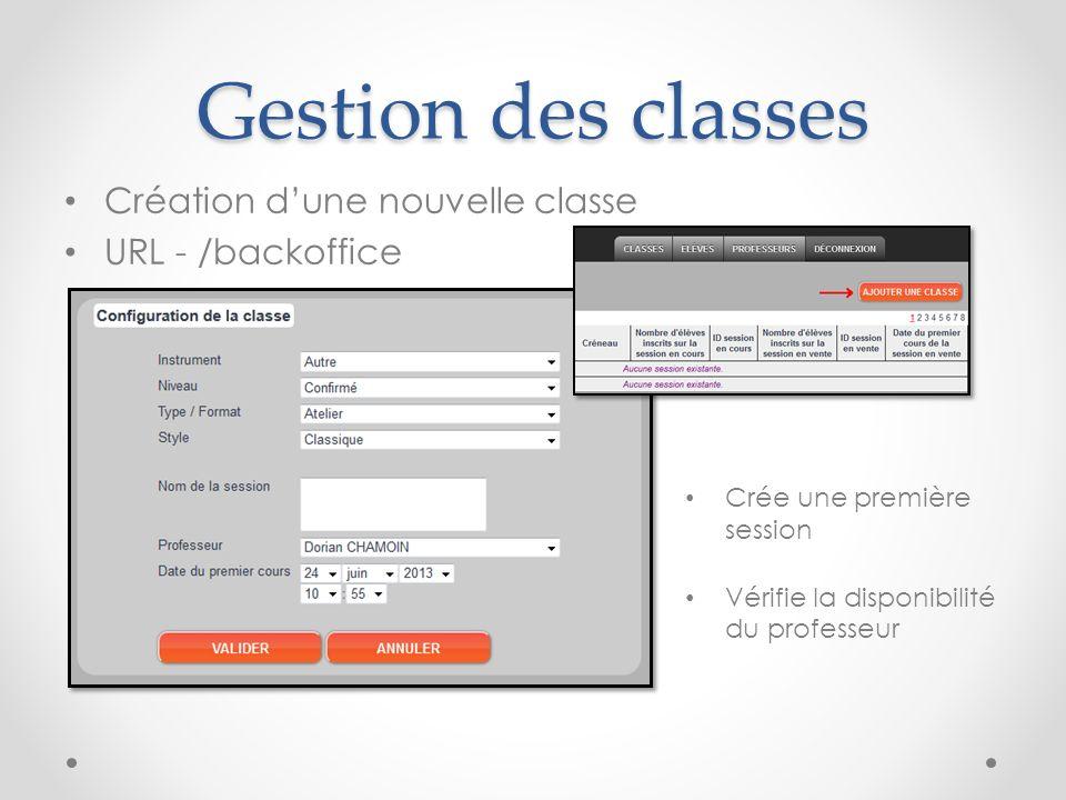 Gestion des classes Création d'une nouvelle classe URL - /backoffice