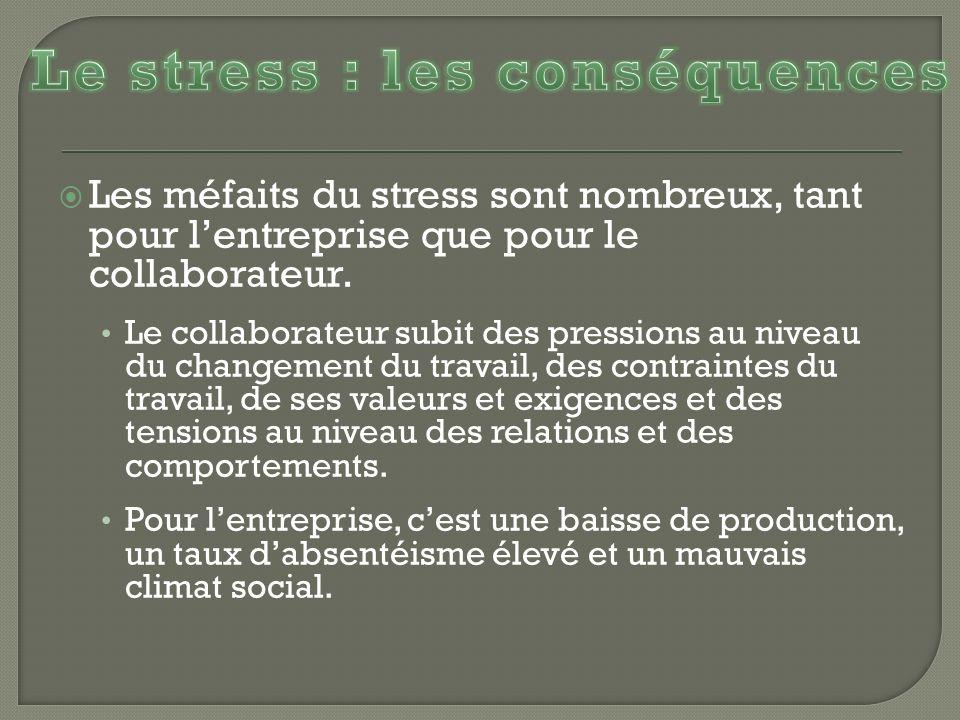 Le stress : les conséquences