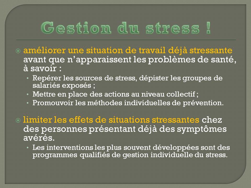 Gestion du stress ! améliorer une situation de travail déjà stressante avant que n'apparaissent les problèmes de santé, à savoir :