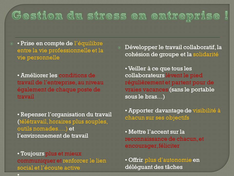 Gestion du stress en entreprise !