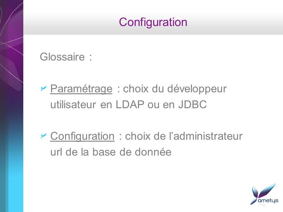 Configuration Glossaire : Paramétrage : choix du développeur