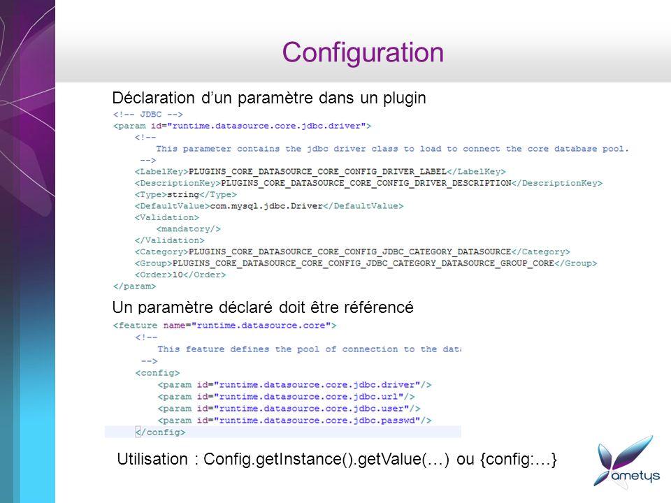 Configuration Déclaration d'un paramètre dans un plugin