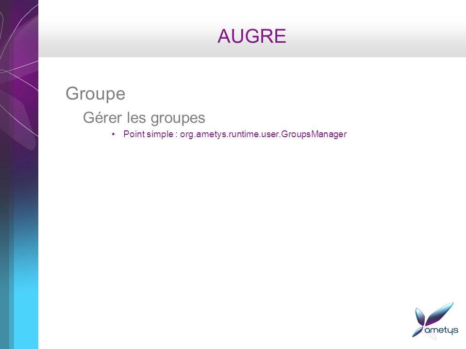 AUGRE Groupe Gérer les groupes