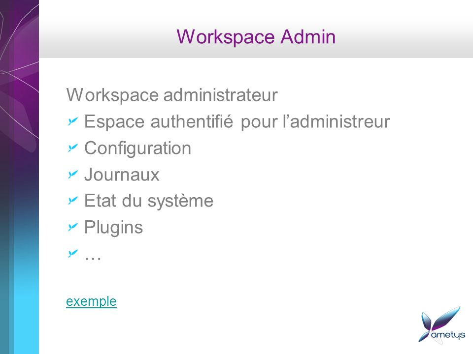 Workspace Admin Workspace administrateur
