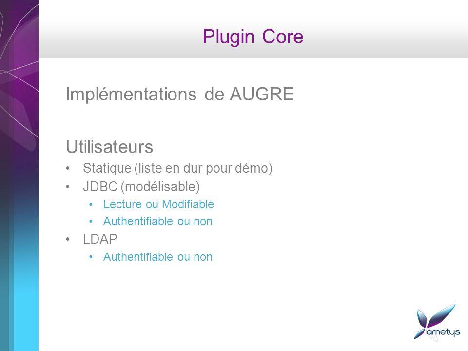 Plugin Core Implémentations de AUGRE Utilisateurs