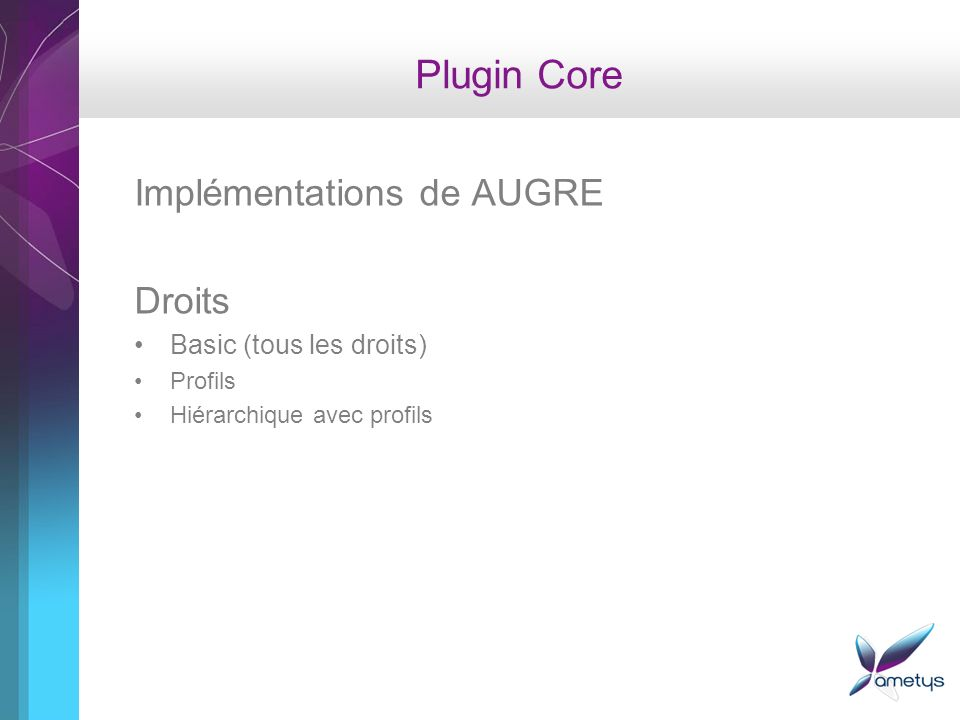 Plugin Core Implémentations de AUGRE Droits Basic (tous les droits)