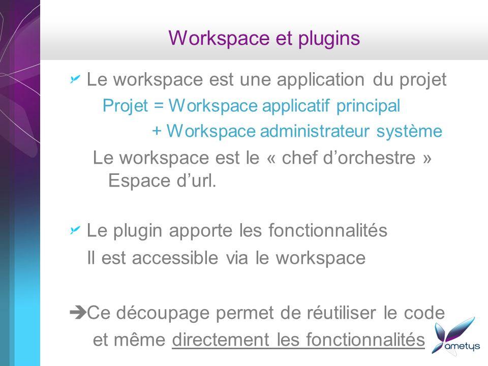 Workspace et plugins Le workspace est une application du projet