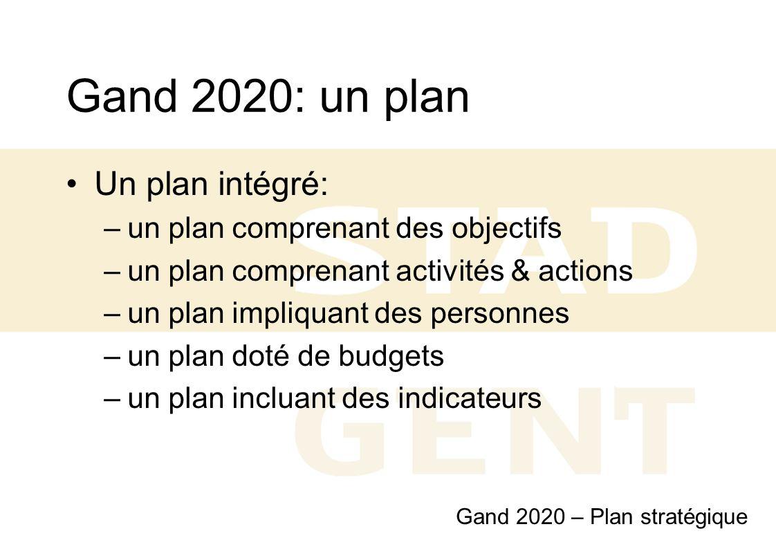 Gand 2020: un plan Un plan intégré: un plan comprenant des objectifs
