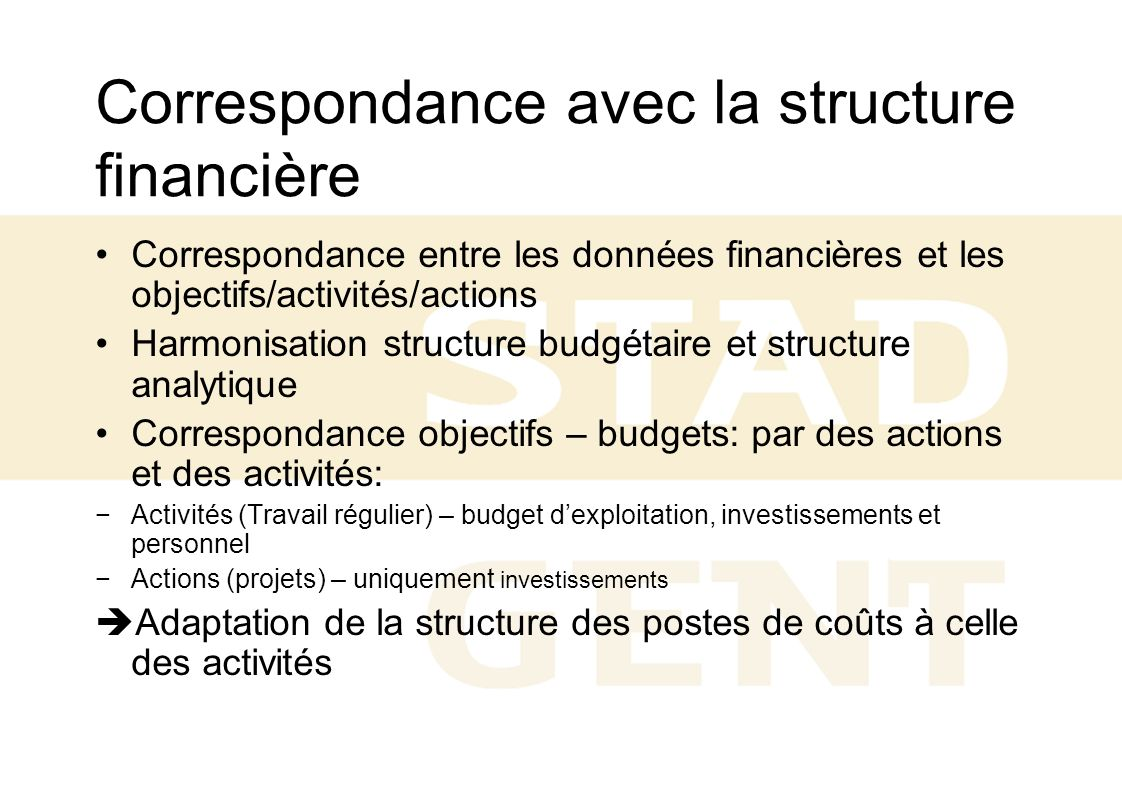 Correspondance avec la structure financière