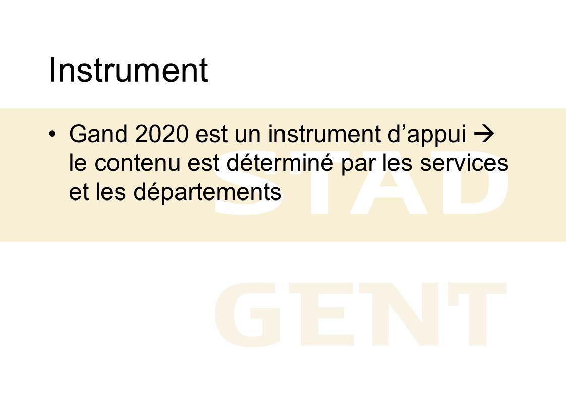 Instrument Gand 2020 est un instrument d'appui  le contenu est déterminé par les services et les départements.