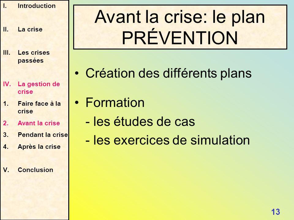 Avant la crise: le plan PRÉVENTION