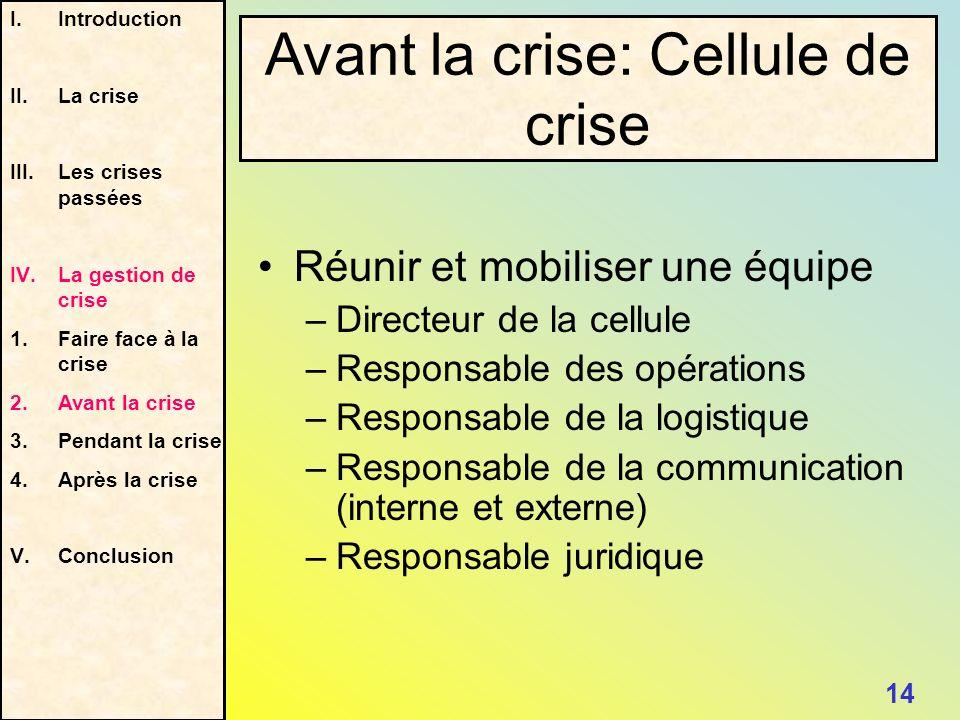 Avant la crise: Cellule de crise