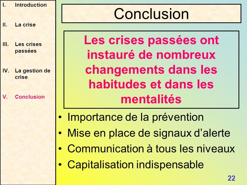 Introduction II. La crise. Les crises passées. La gestion de crise. Conclusion. Conclusion.