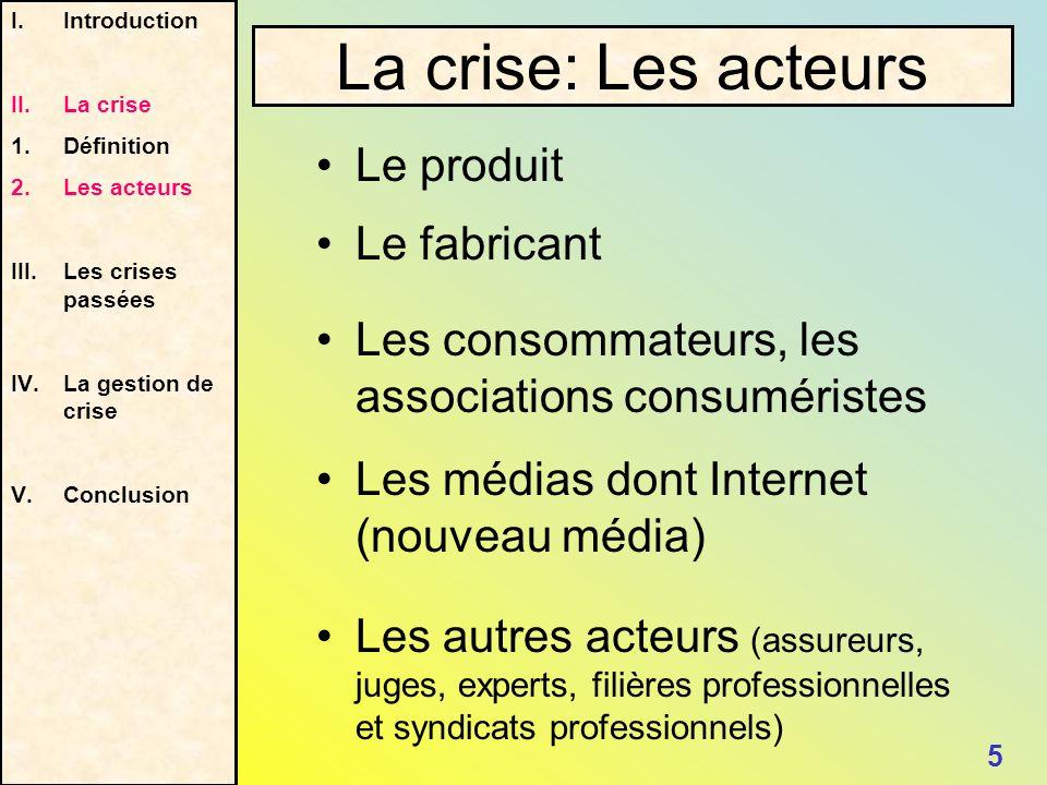 La crise: Les acteurs Le produit Le fabricant
