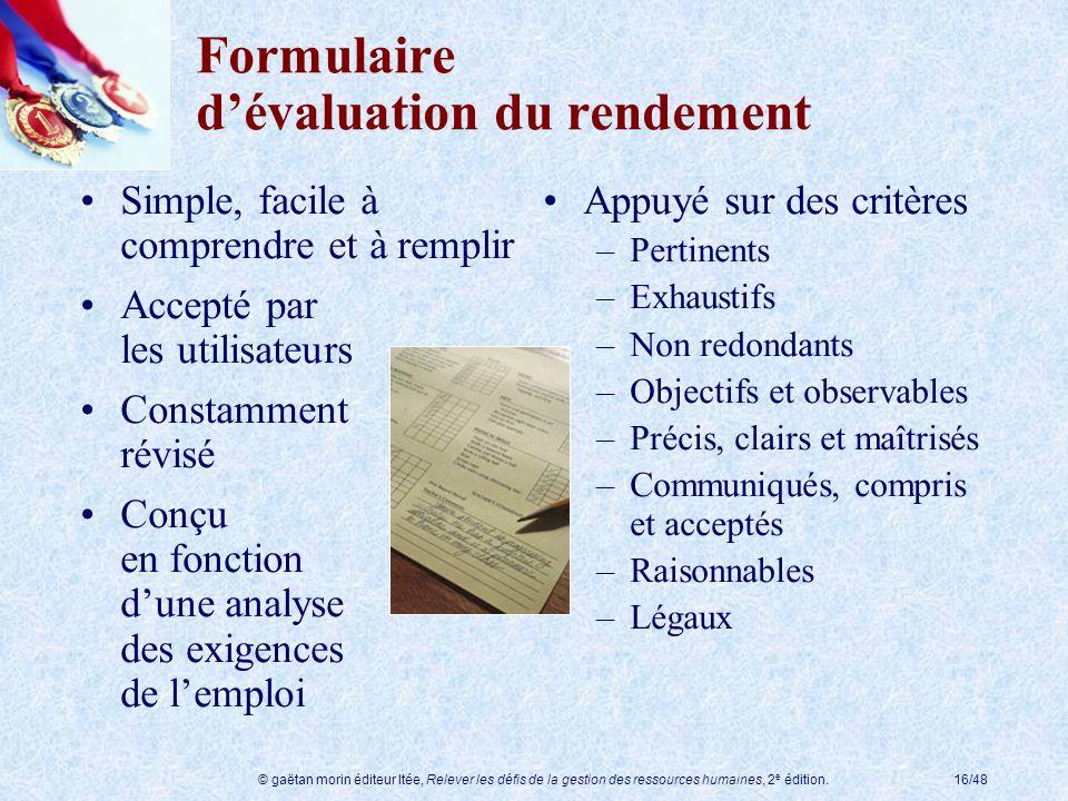 Formulaire d'évaluation du rendement