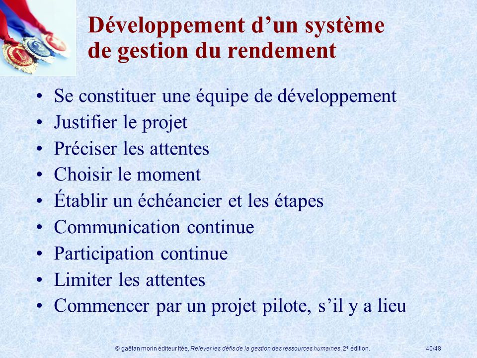 Développement d'un système de gestion du rendement