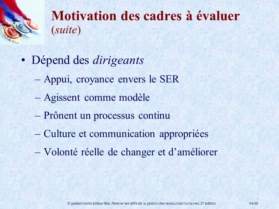 Motivation des cadres à évaluer (suite)