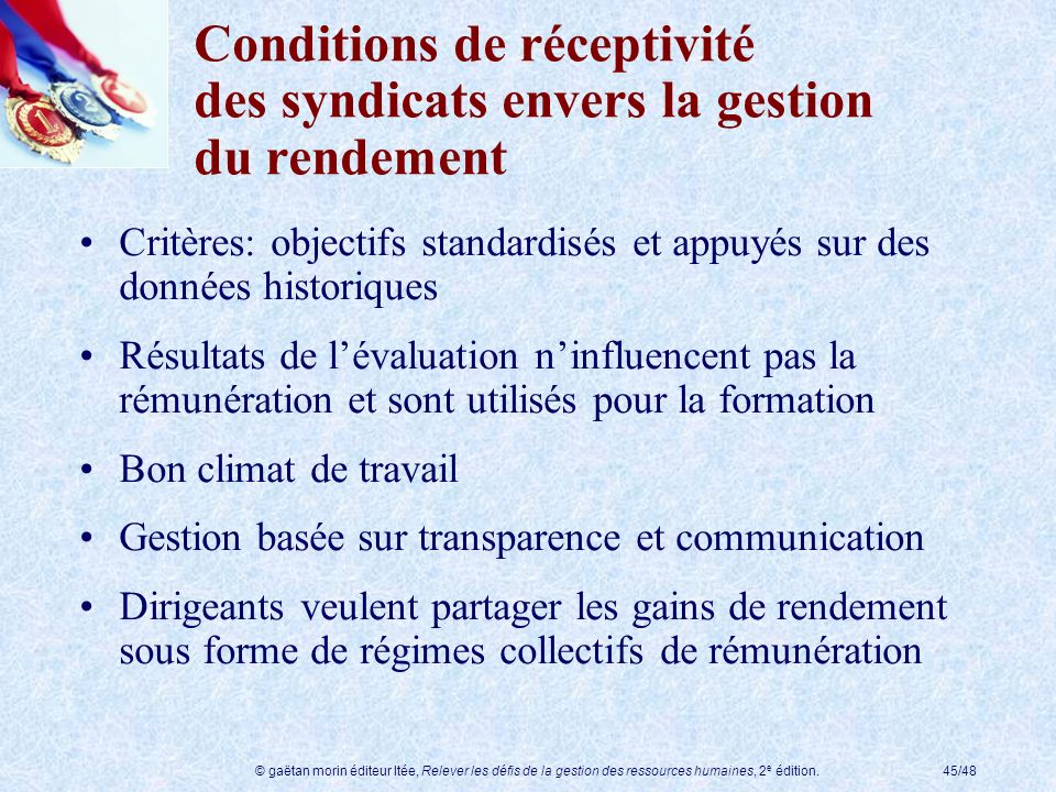 Conditions de réceptivité des syndicats envers la gestion du rendement