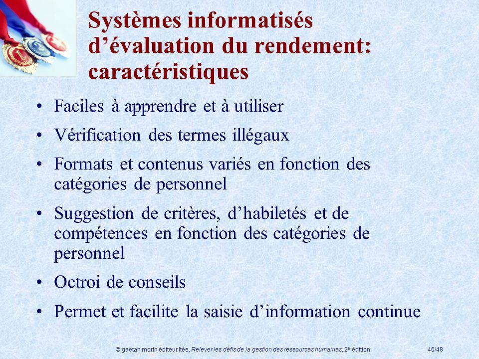 Systèmes informatisés d'évaluation du rendement: caractéristiques