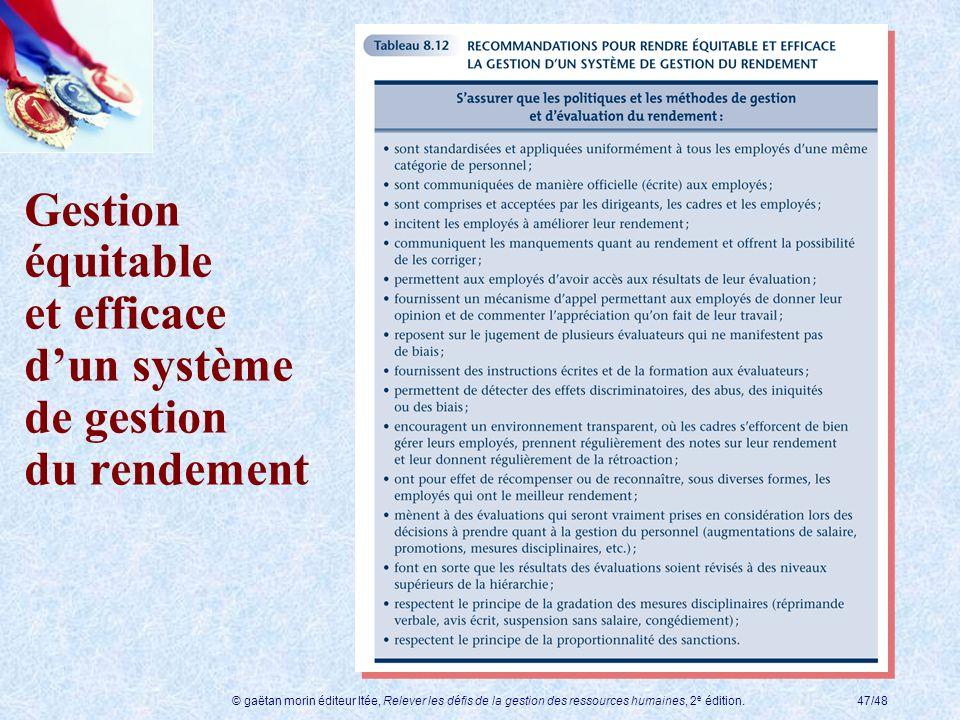 Gestion équitable et efficace d'un système de gestion du rendement