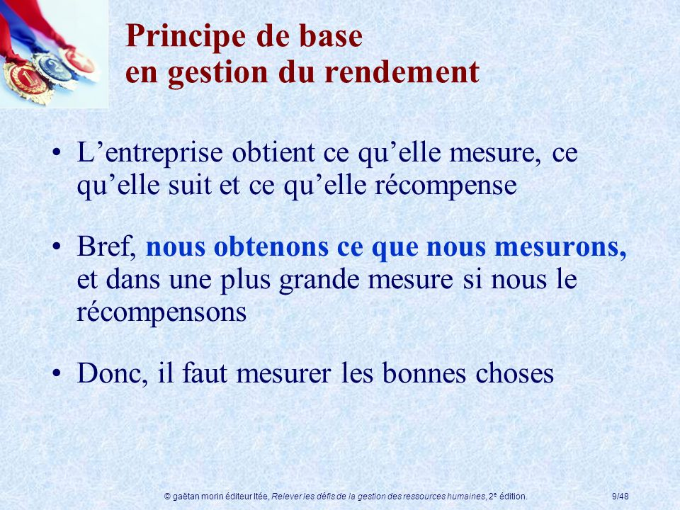 Principe de base en gestion du rendement
