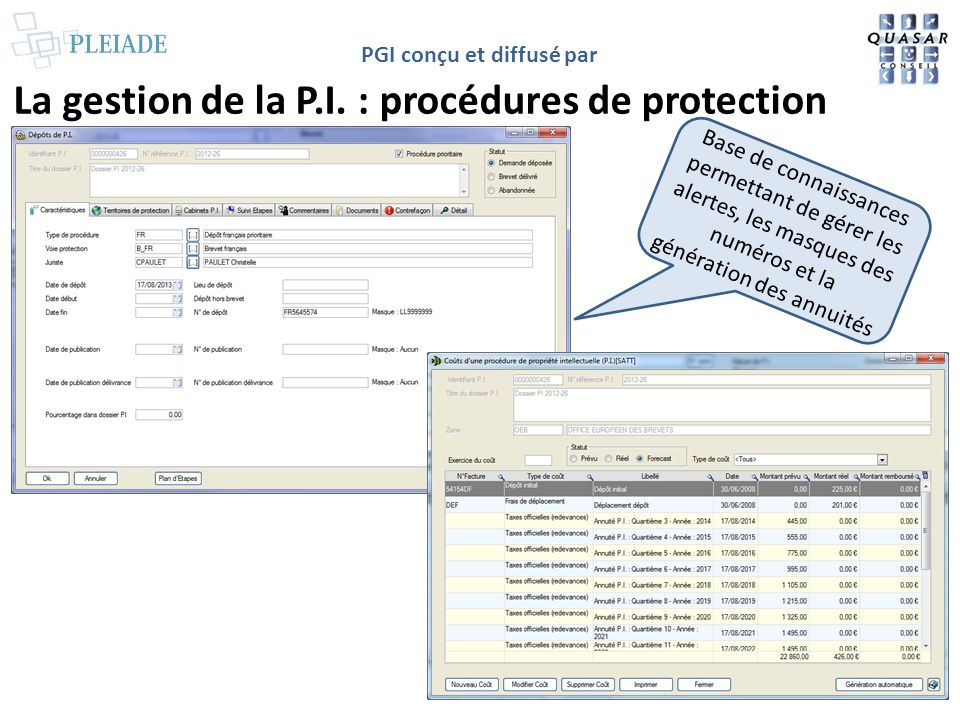 La gestion de la P.I. : procédures de protection