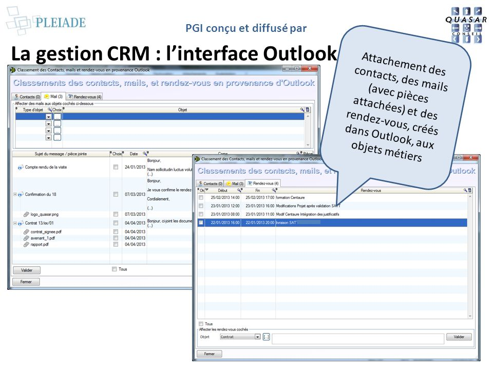 La gestion CRM : l'interface Outlook