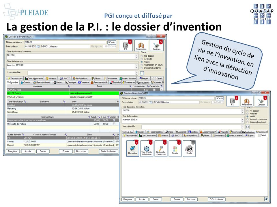 La gestion de la P.I. : le dossier d'invention