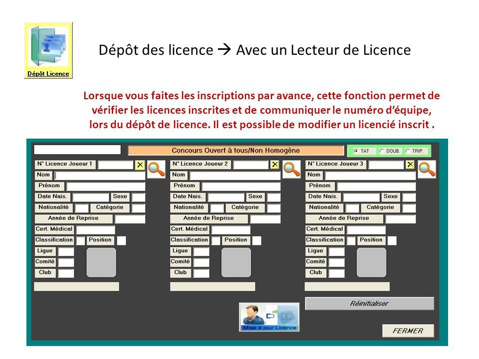 Dépôt des licence  Avec un Lecteur de Licence