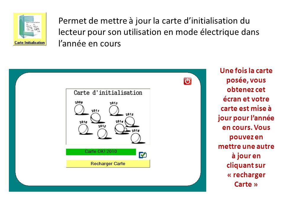 Permet de mettre à jour la carte d'initialisation du lecteur pour son utilisation en mode électrique dans l'année en cours