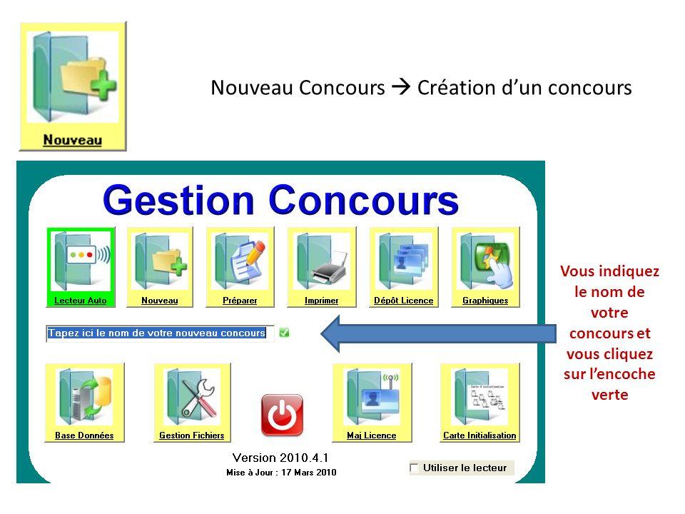 Nouveau Concours  Création d'un concours