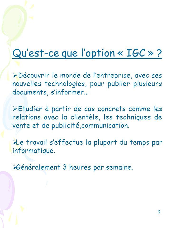 Qu'est-ce que l'option « IGC »