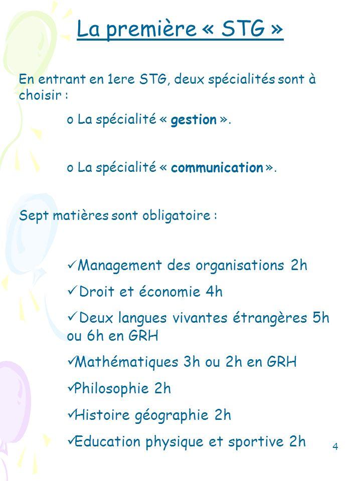 La première « STG » Droit et économie 4h