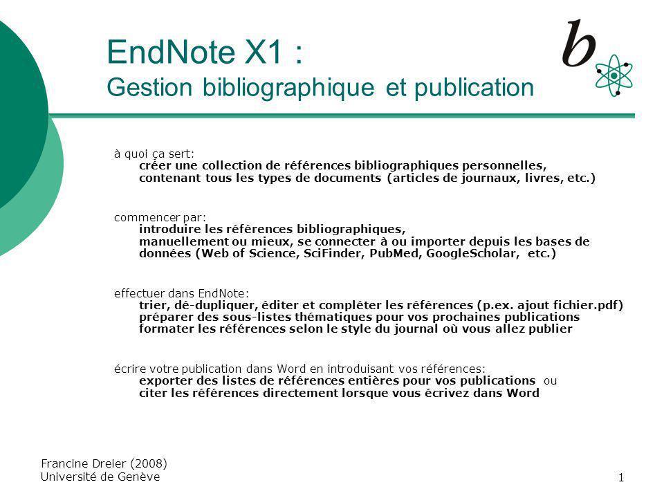 EndNote X1 : Gestion bibliographique et publication
