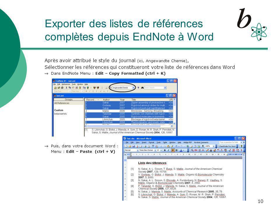 Exporter des listes de références complètes depuis EndNote à Word