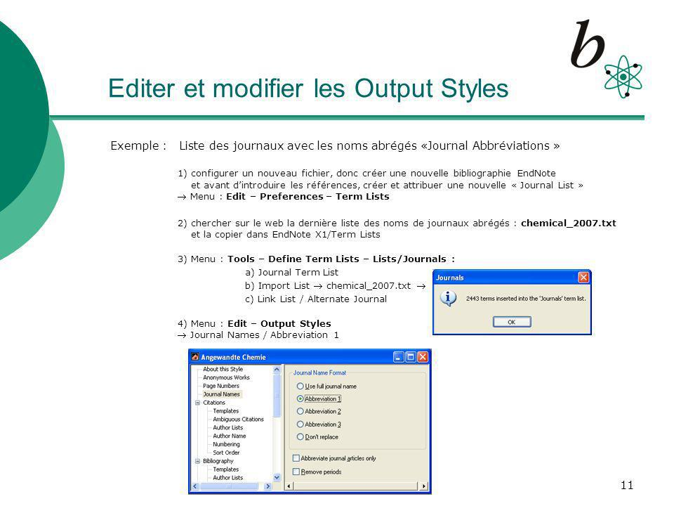 Editer et modifier les Output Styles