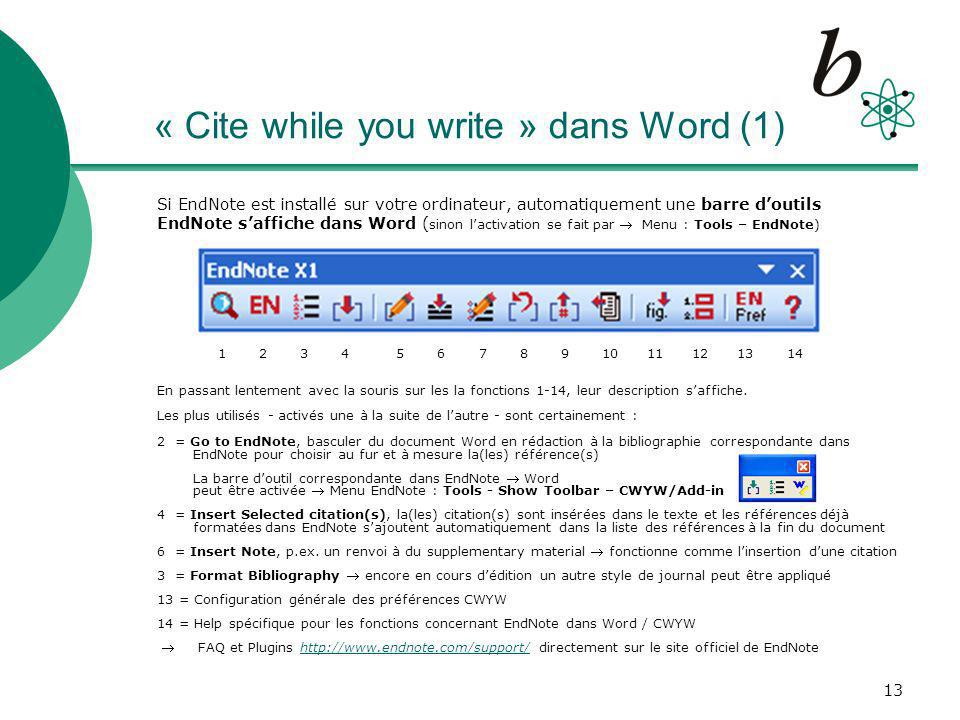 « Cite while you write » dans Word (1)