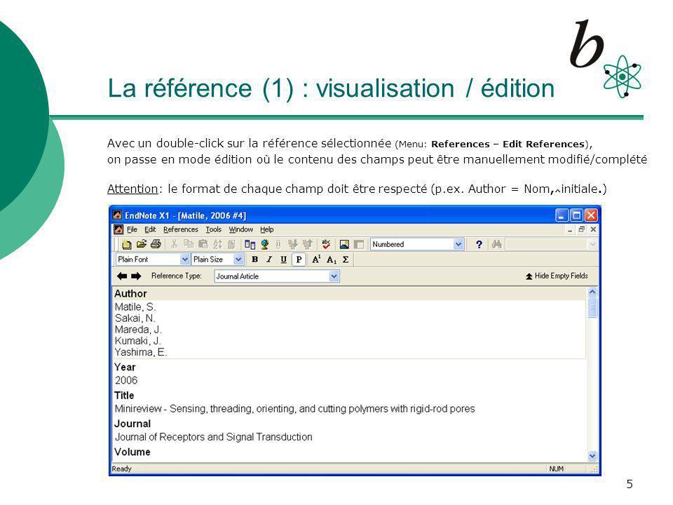 La référence (1) : visualisation / édition