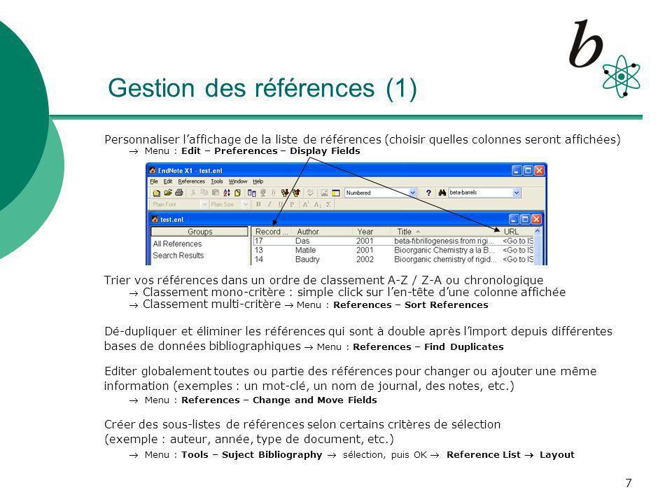 Gestion des références (1)