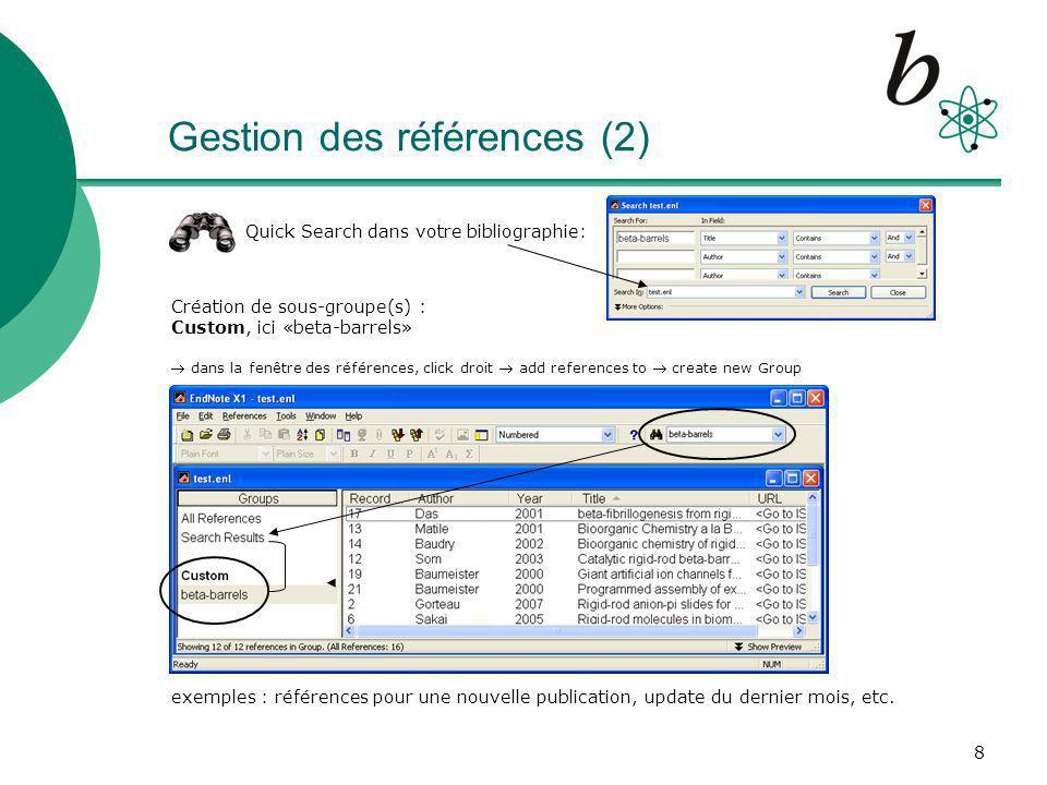 Gestion des références (2)