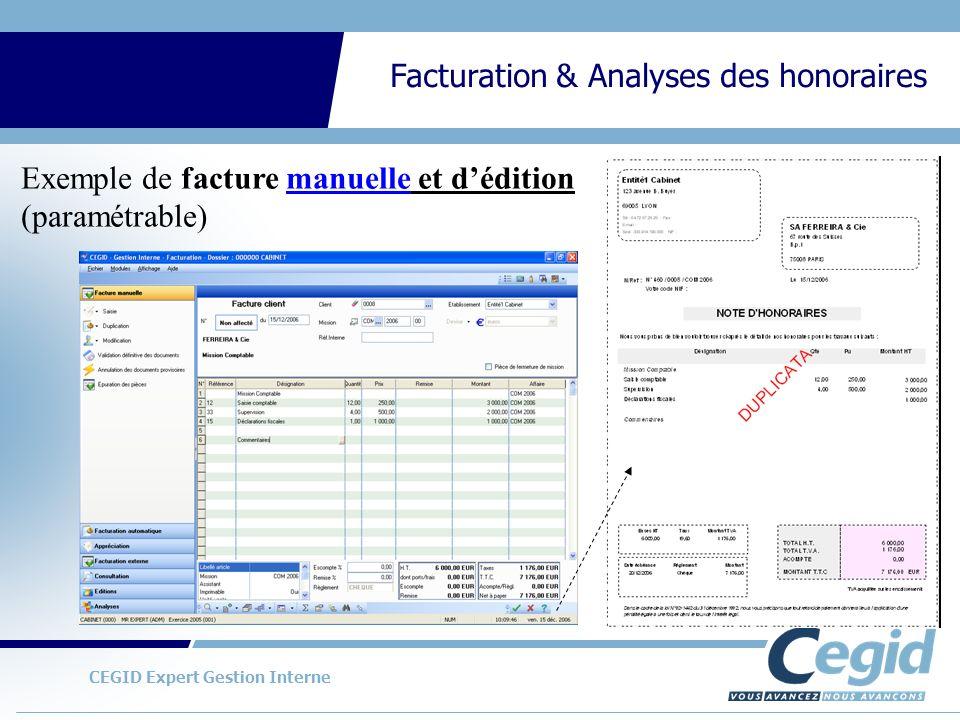 Exemple de facture manuelle et d'édition (paramétrable)