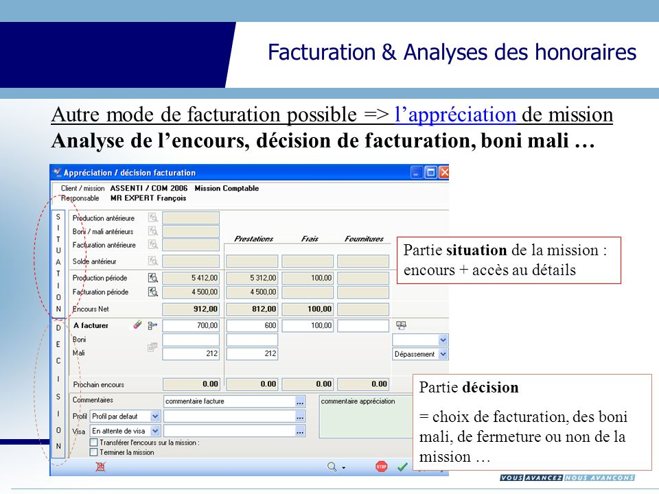 Autre mode de facturation possible => l'appréciation de mission Analyse de l'encours, décision de facturation, boni mali …