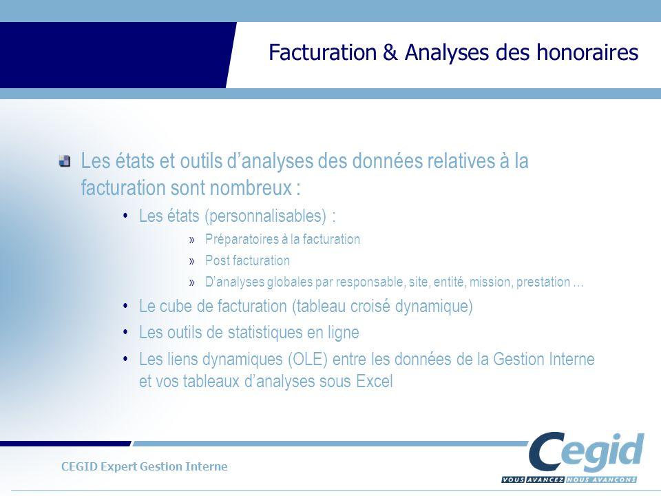 Les états et outils d'analyses des données relatives à la facturation sont nombreux :