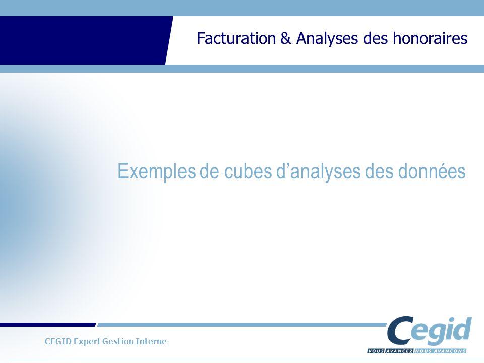 Exemples de cubes d'analyses des données